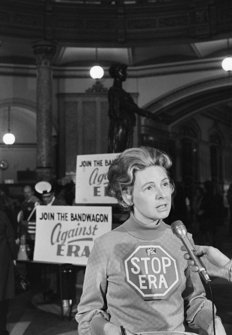 original caption springfield, ill file photo phyllis schlafly, national leader of the stop the equal rights amendment movement talks with reporters 3475 during a rally at the illinois state capitol