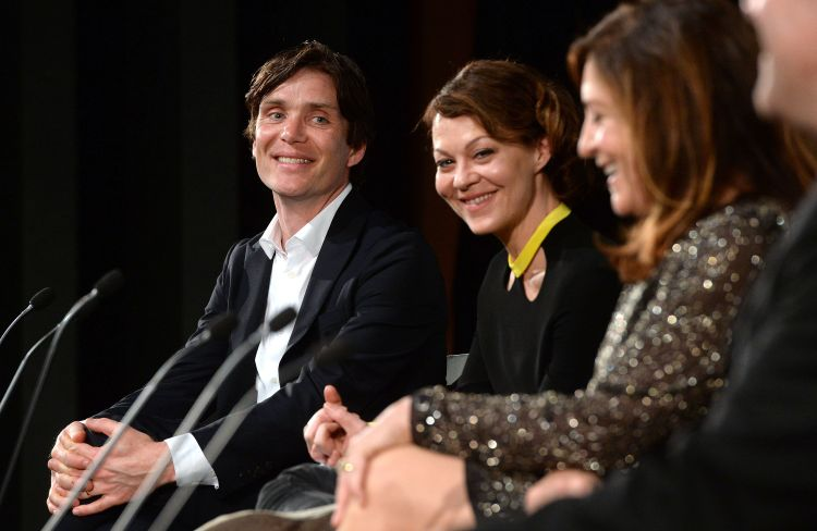 london, england may 03 cillian murphy and helen mccrory during a qa at the premiere of bbc twos drama peaky blinders episode one, series three at bfi southbank on may 3, 2016 in london, england photo by anthony harveygetty images