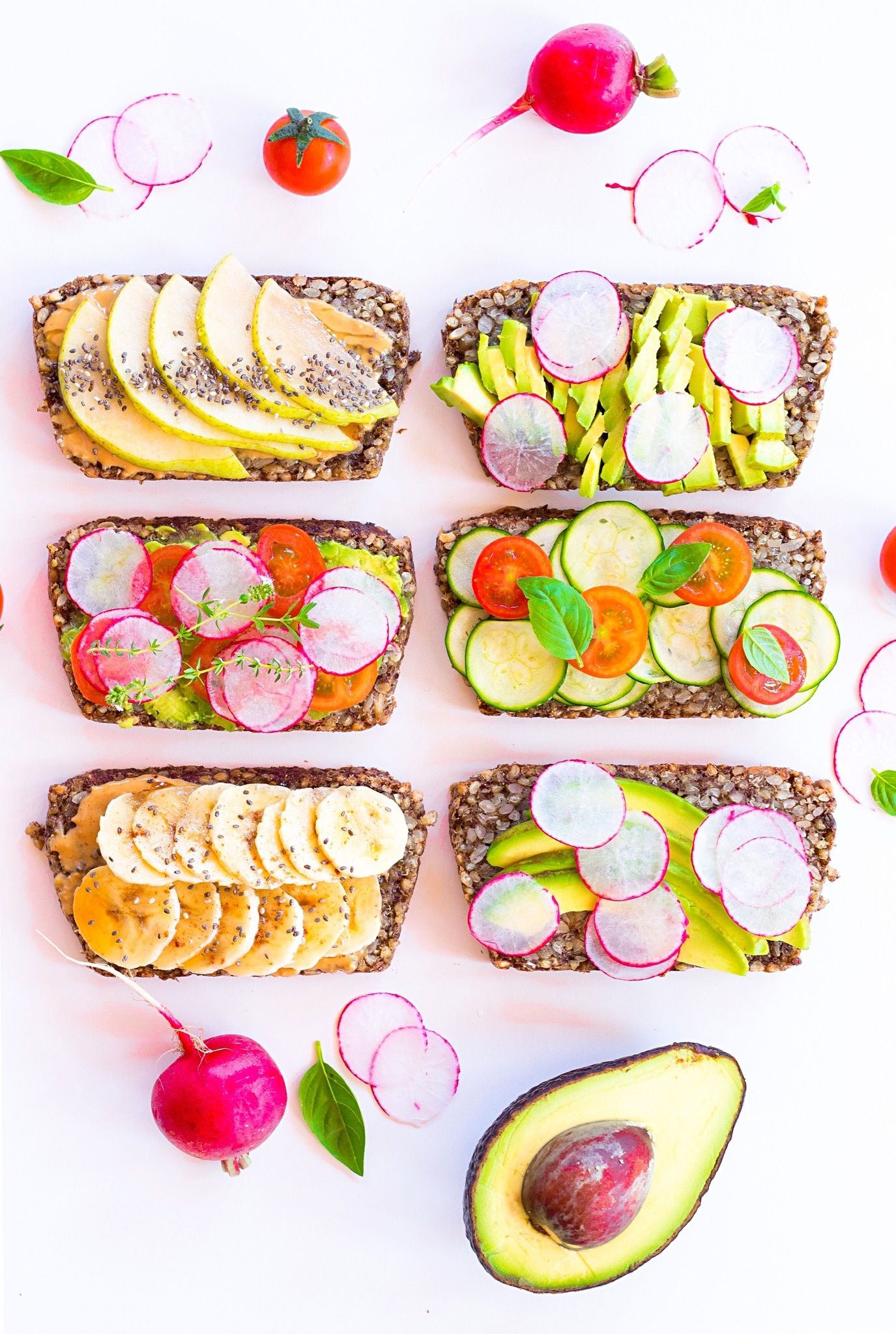 Directly Above Shot Of Healthy Toast Served On White Background