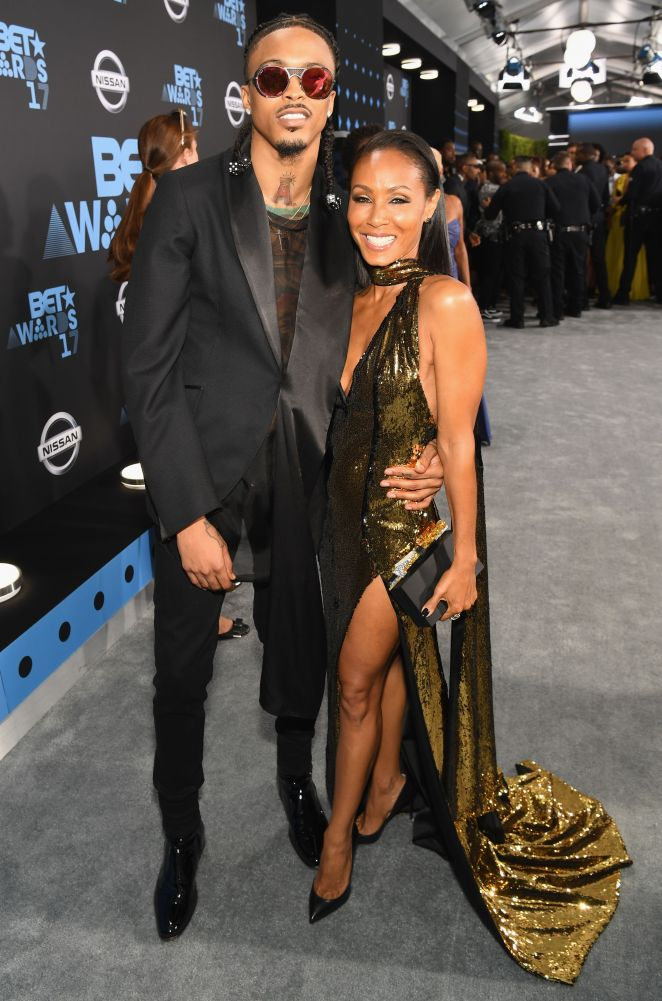 los angeles, ca   june 25  august alsina l and jada pinkett smith at the 2017 bet awards at staples center on june 25, 2017 in los angeles, california  photo by paras griffingetty images for bet