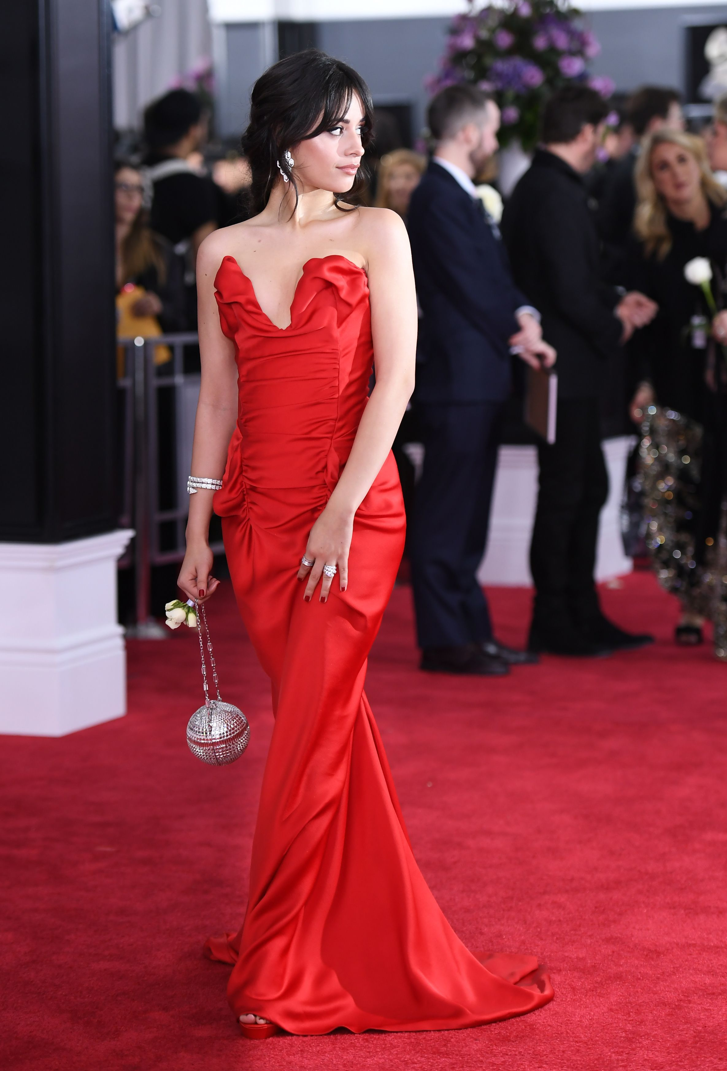 18 Grammy Awards Red Carpet Dresses     2018 Grammy Awards Best Dressed Best Red Carpet Red  Camila Cabello in Vivienne Westwood