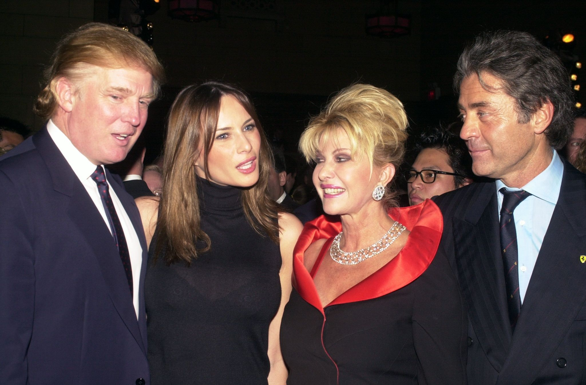 Donald Trump and Melania Knauss, back when they were dating, pose with Ivana Trump and Roffredo Gaetani at a party in 2000.