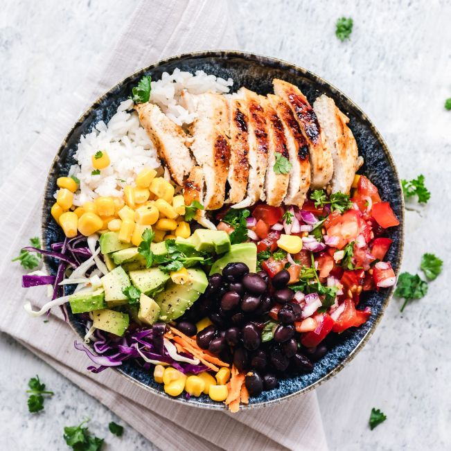 Grilled chicken and rice salad bowl
