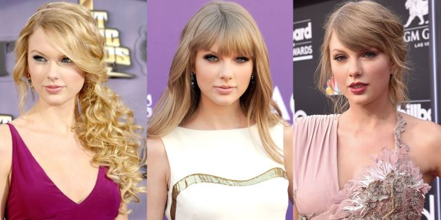 taylor swift hairstyles - taylor swift's curly, straight