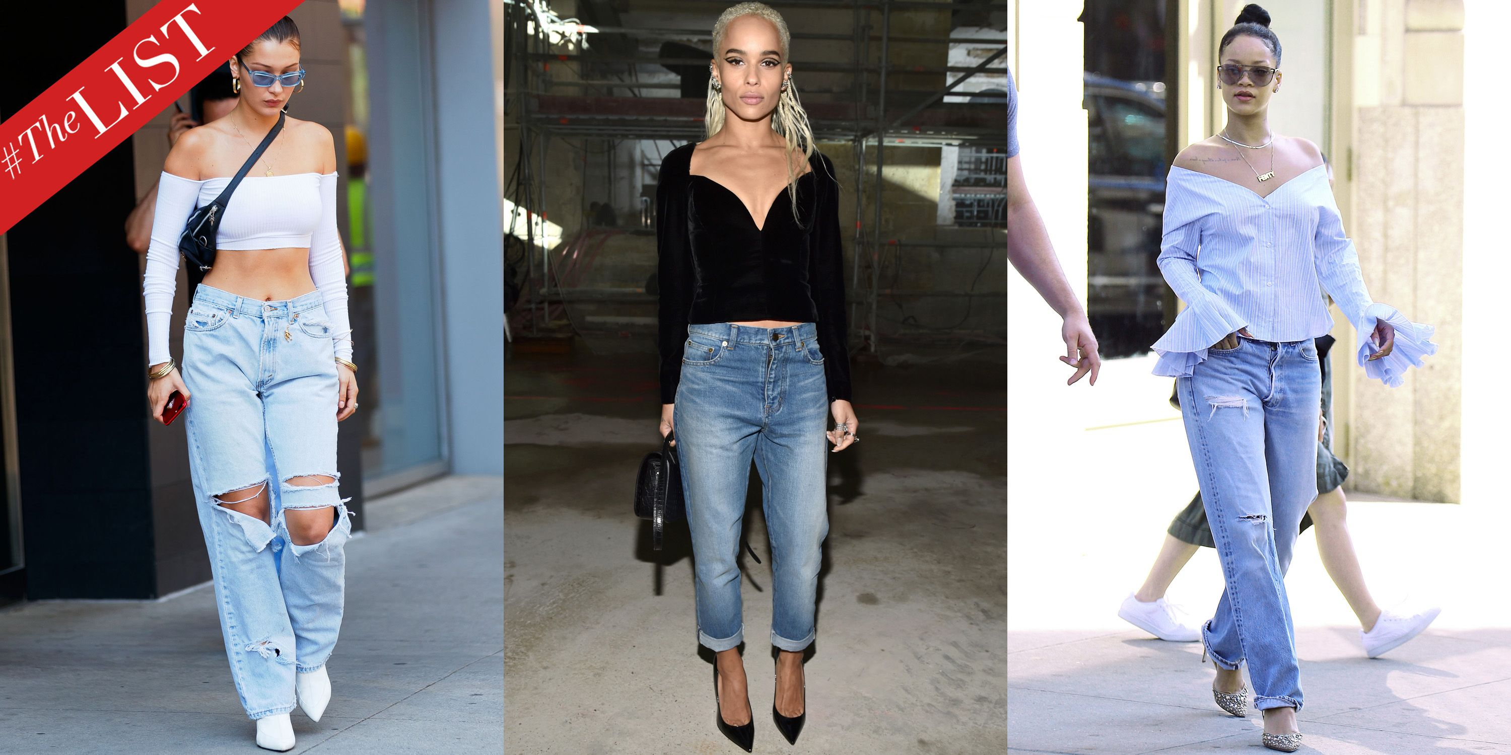 Celebrity Wearing Black Ripped High Waisted Denim Look