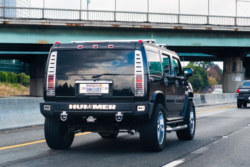 Hummer H2 vehicle driving on the freeway