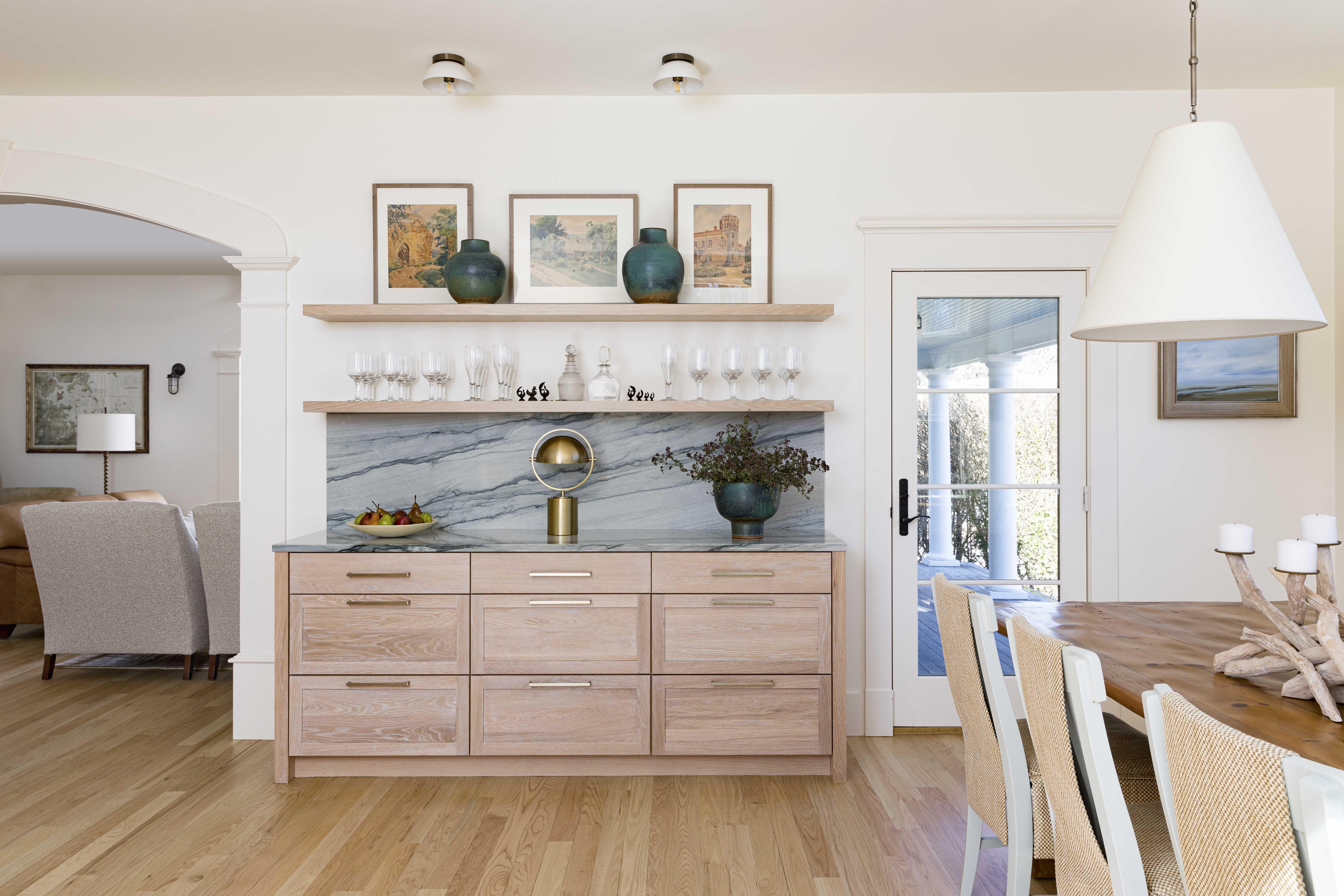 kitchen, serving sideboard, natural wooden cabinets