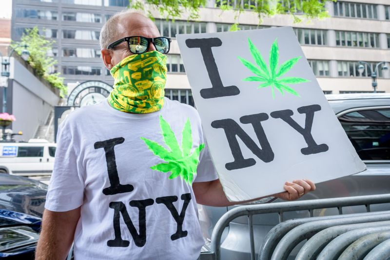 Marijauna rally outside New York Governor's office in...