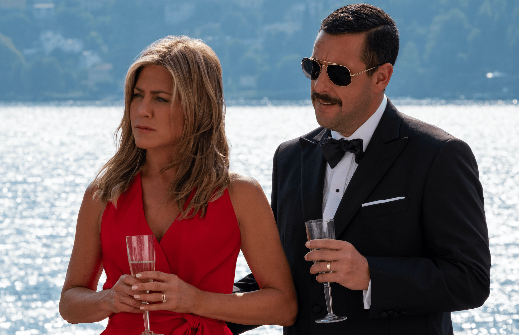 Jennifer Aniston and Adam Sandler in Murder Mystery