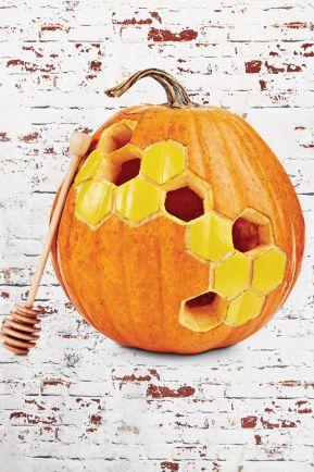 diy honeycomb pumpkin fall crafts