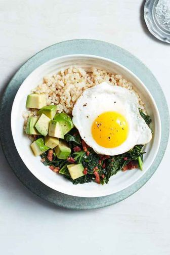 avocado bacon kale and egg grain bowl