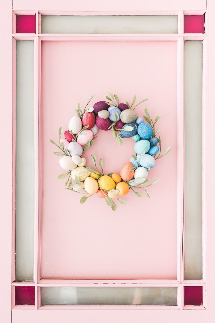 rainbow egg wreath easter decorations