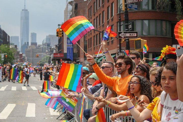 rainbow flags at nyc gay pride parade