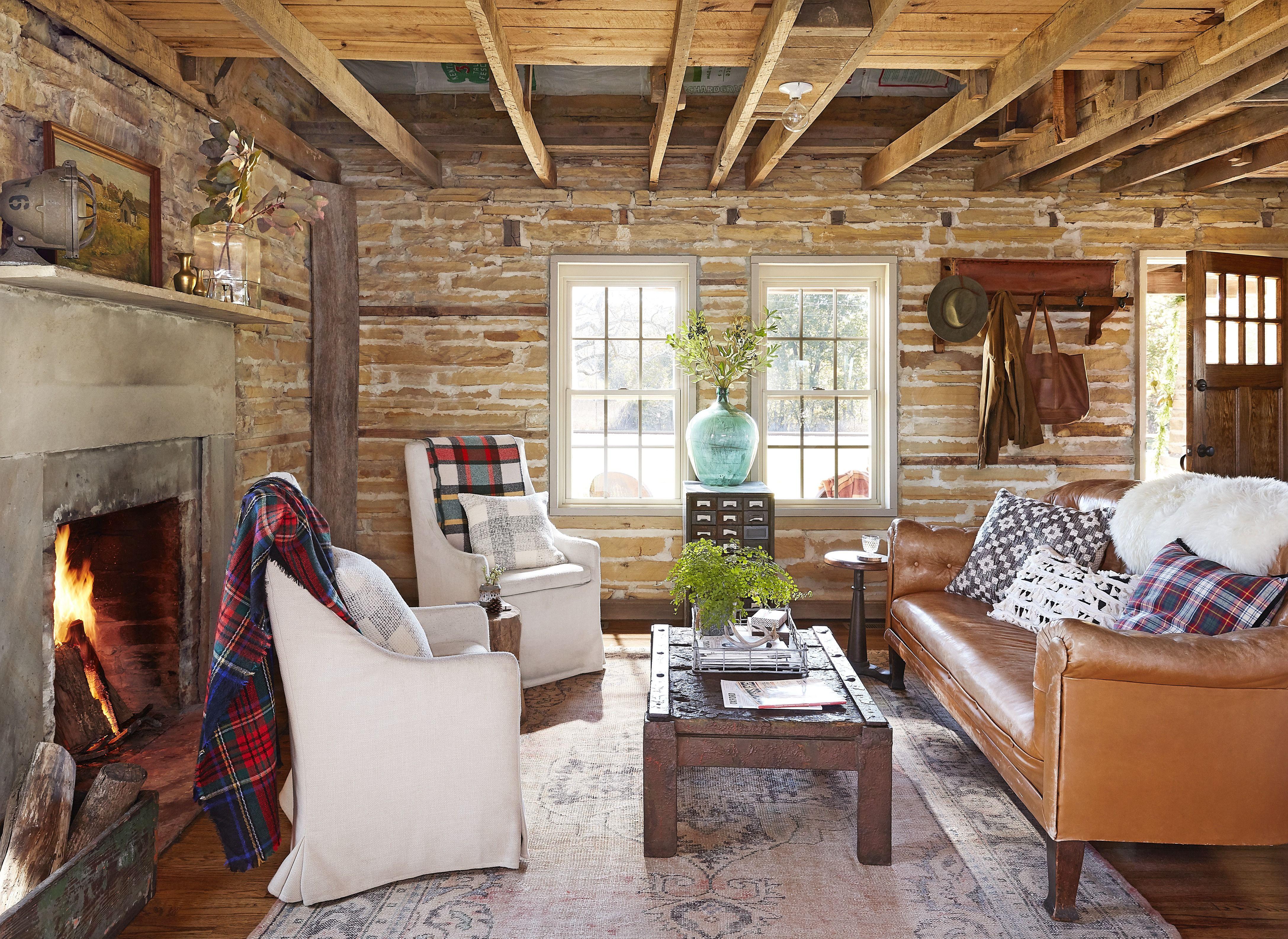 25 Rustic Living Room Ideas - Modern Rustic Living Room ... on Traditional Rustic Decor  id=47832