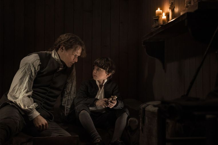 Jamie Fraser (Sam Heughan) and his son, William Ransom​ (Clark Butler)