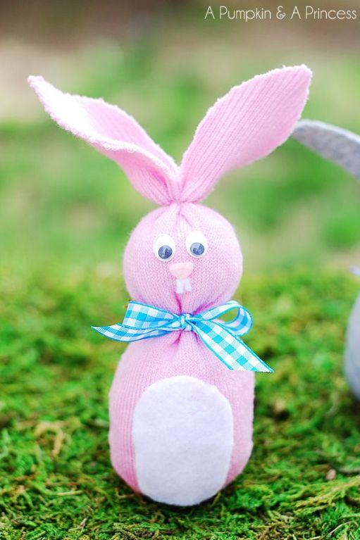 diy sock bunny with a ribbon bow