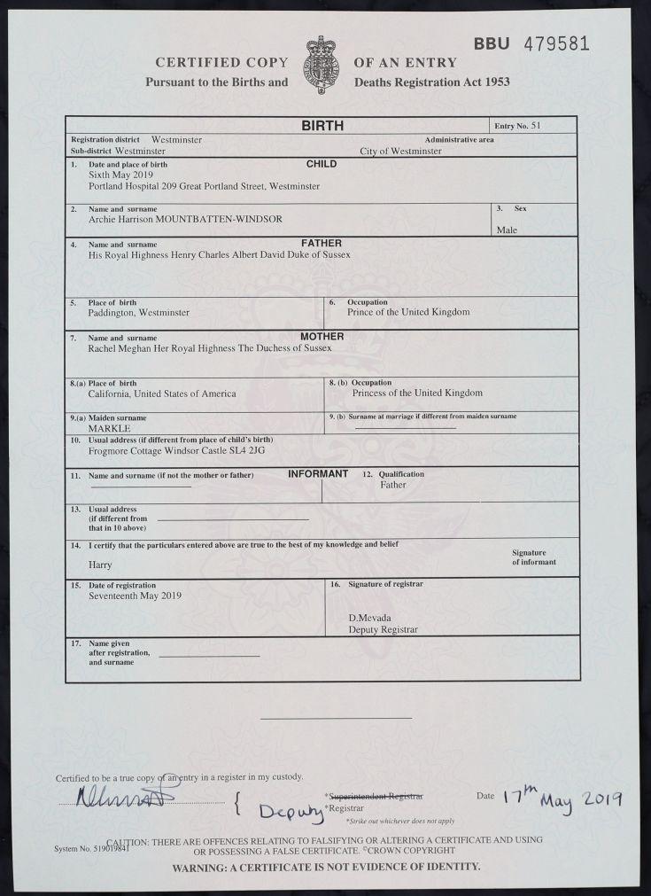 archie harrison mountbatten windsor birth certificate portland hospital
