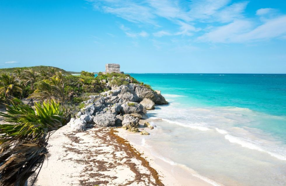Tulum. Mexico. Sea View from the Mayan City Archaeological Site with the Wind Temple in the Background