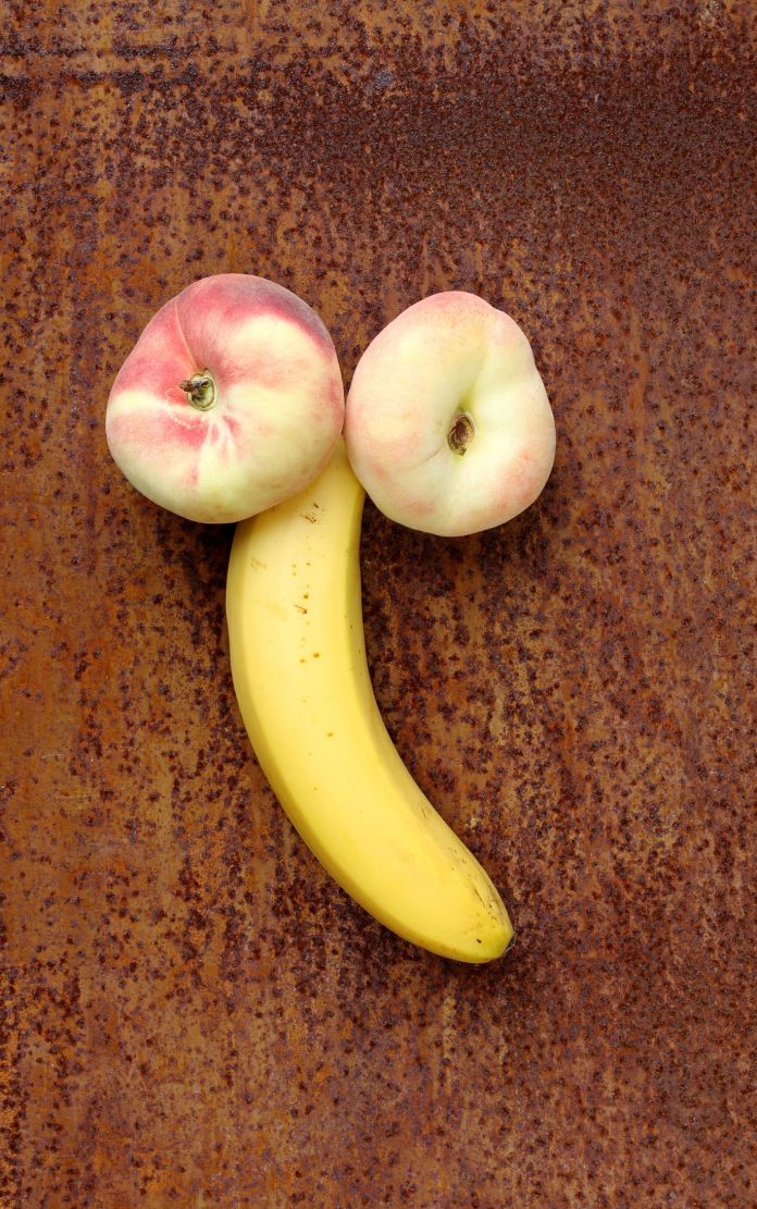 two peaches and one banana