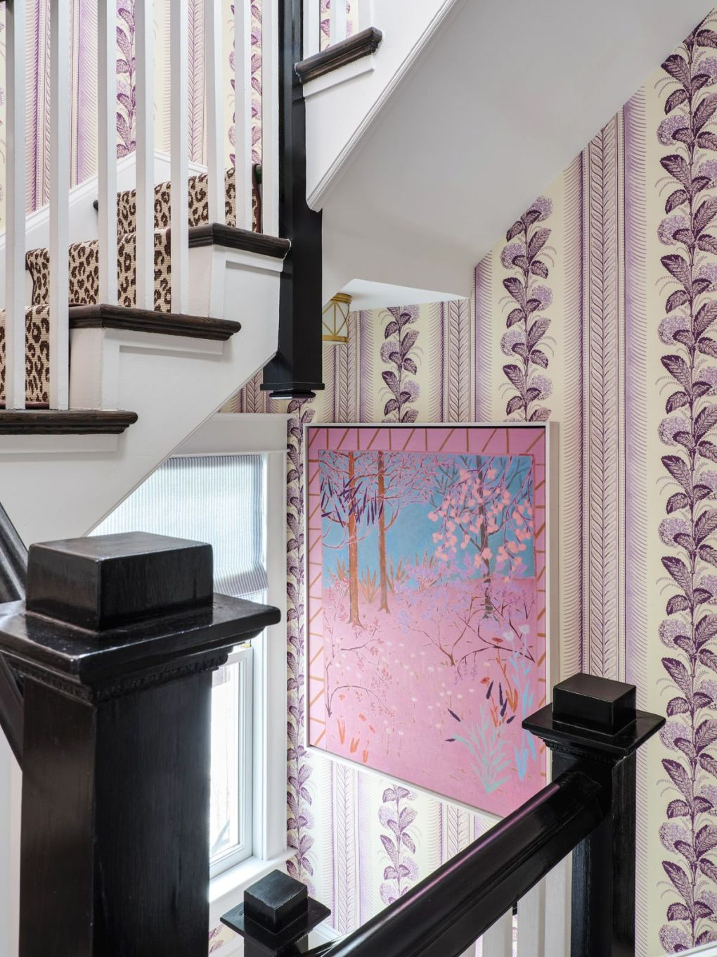 Room, Wall, Interior design, Curtain, Purple, Pink, Wallpaper, Stairs, Molding, Architecture,