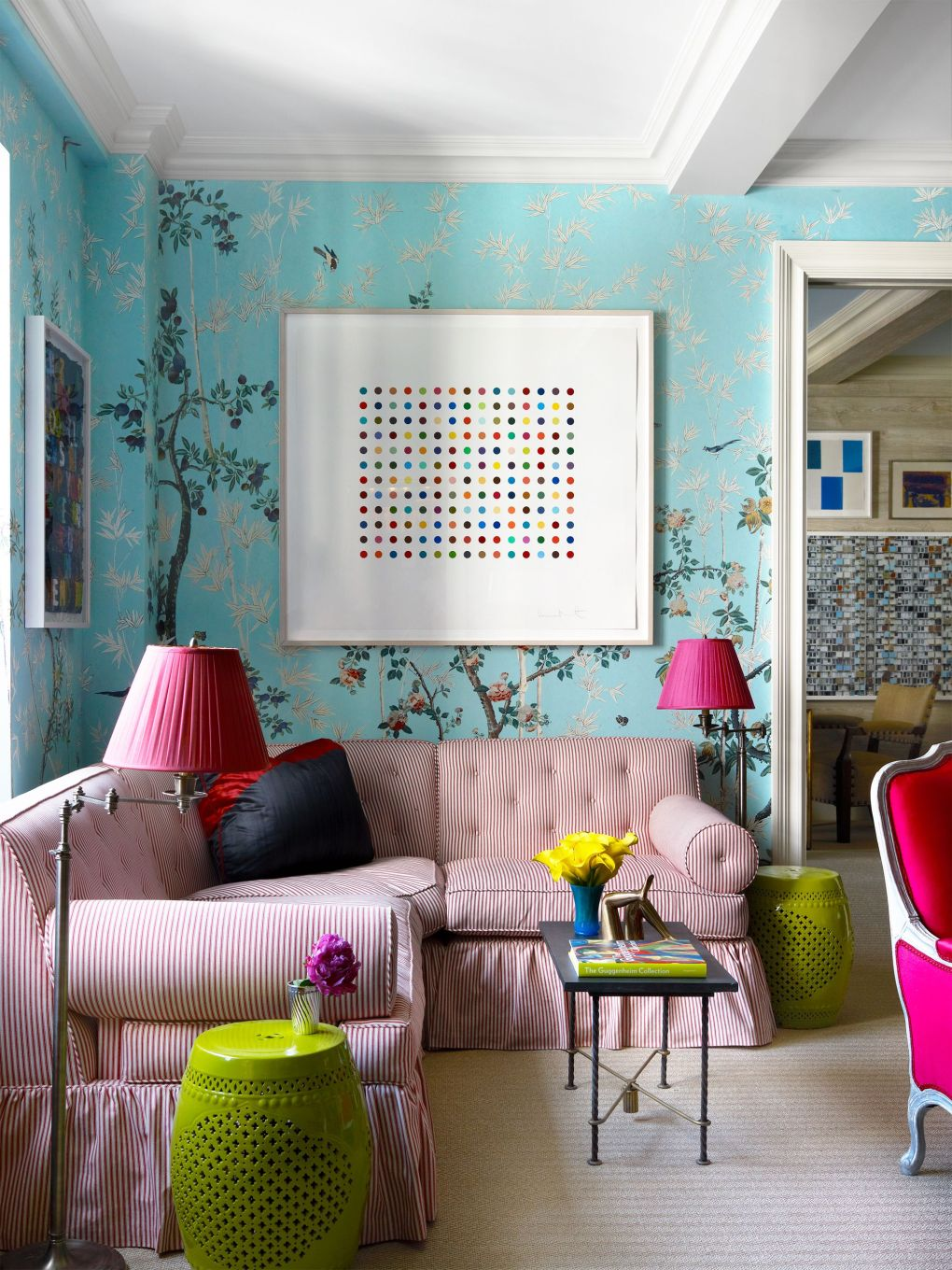 living room with wall art