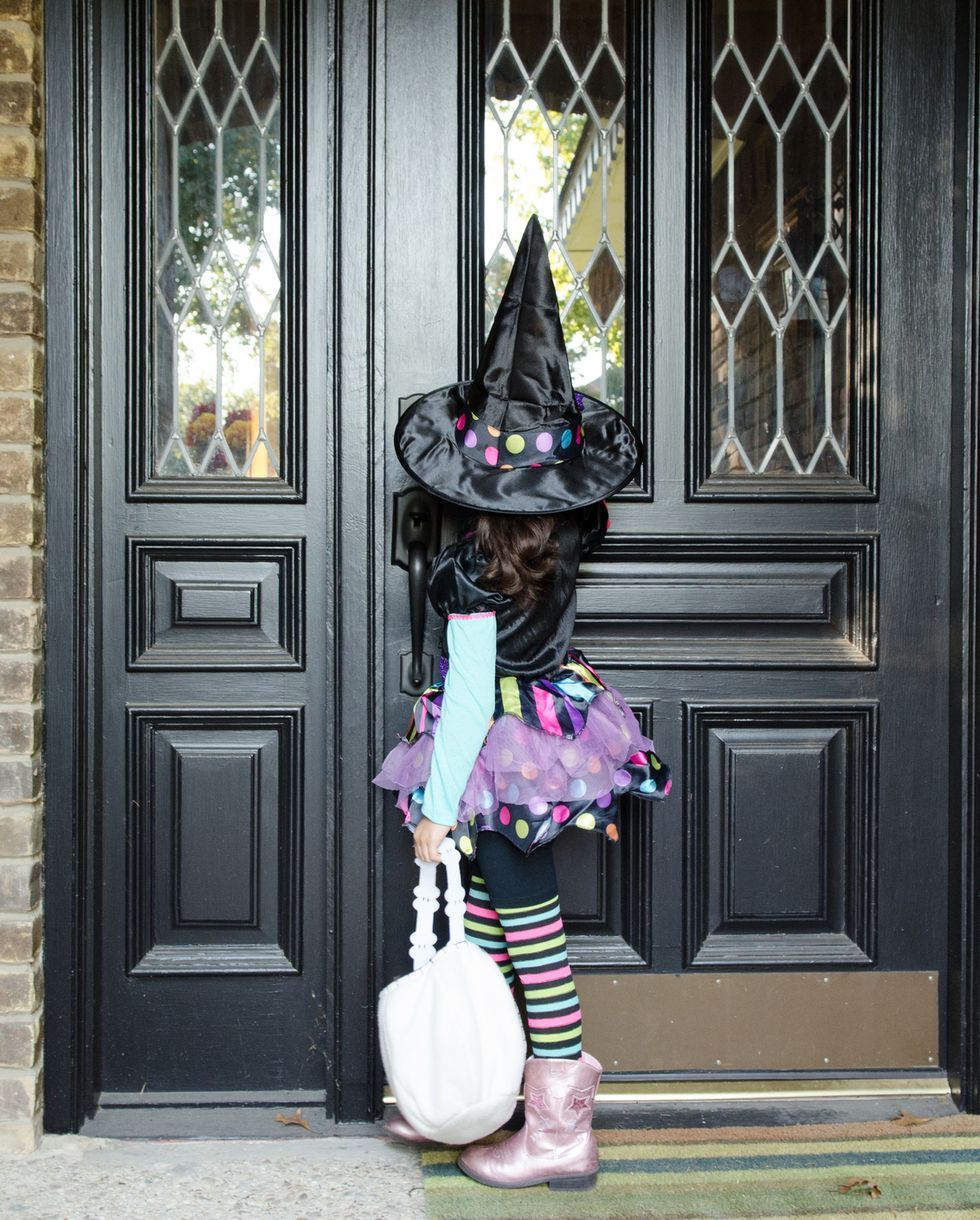 young girl dressed up for halloween