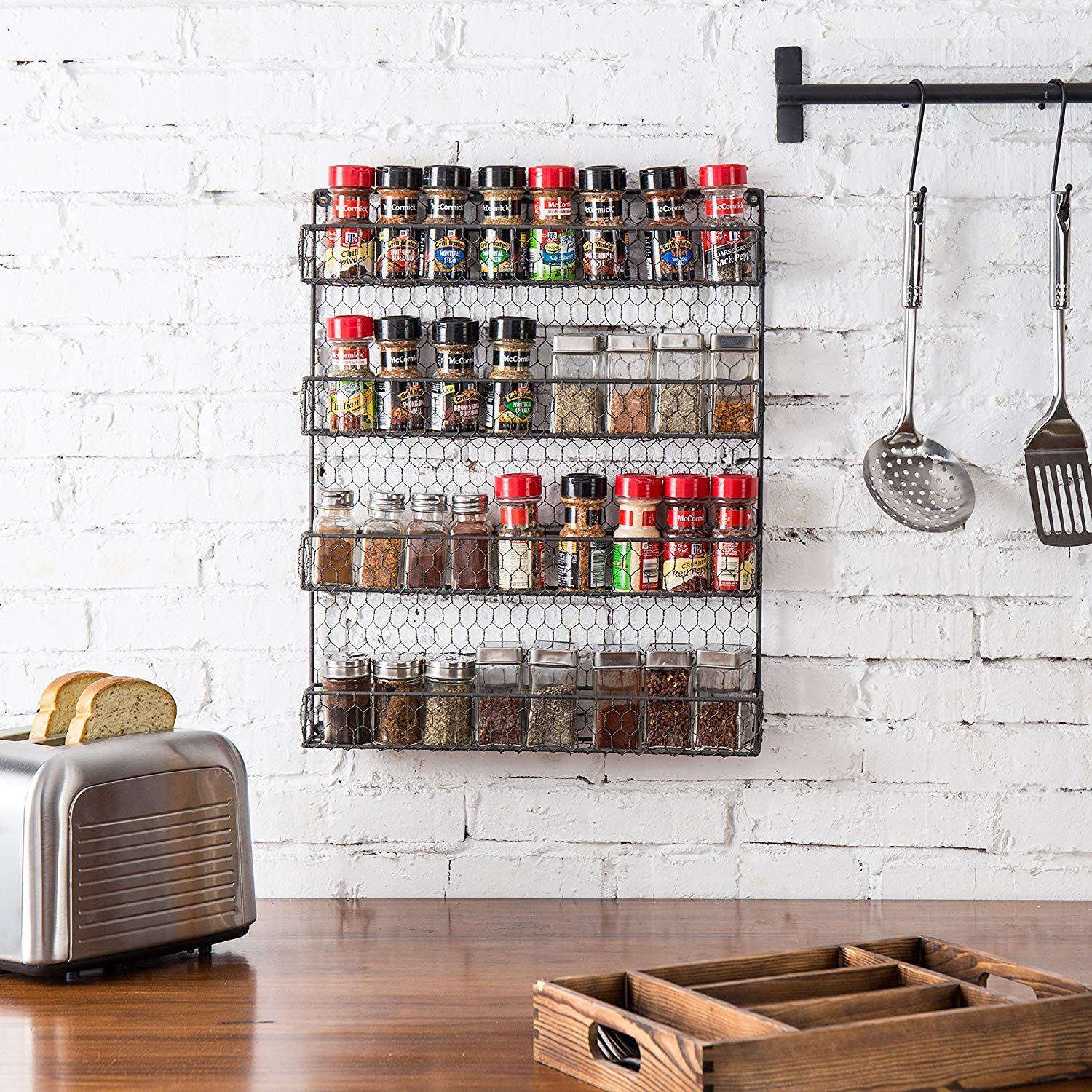 rustic wall mounted spice rack