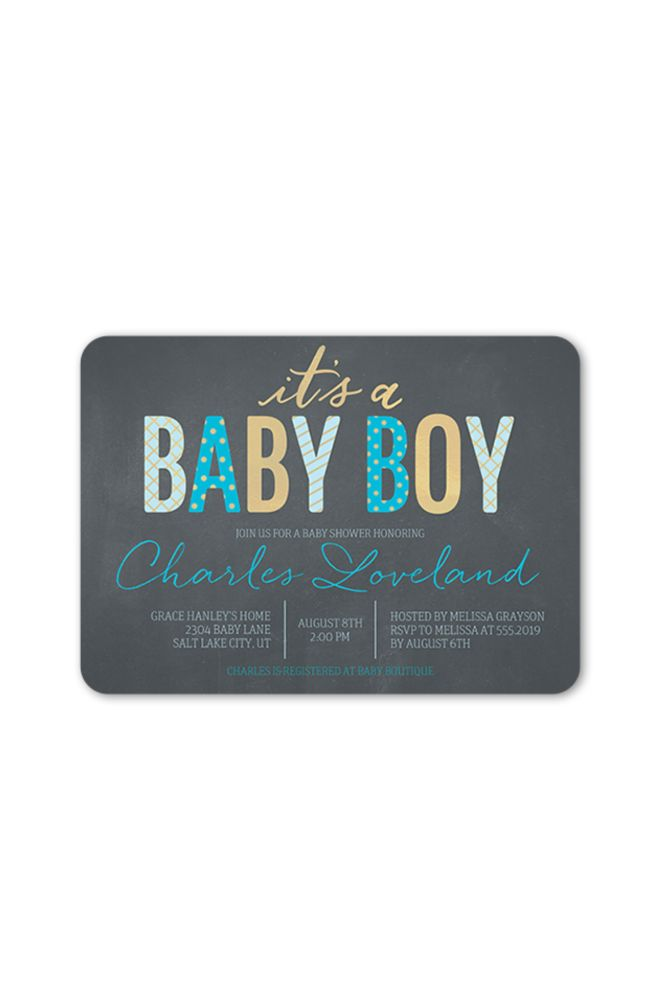 Fabulous Pattern Boy Baby Shower Invitation