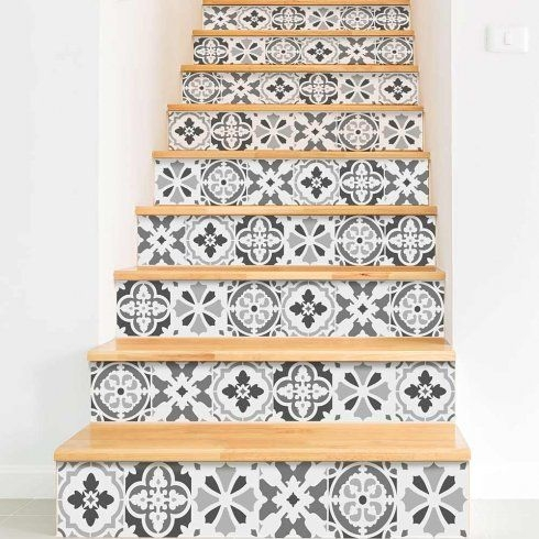 18 Pretty Painted Stairs How To Paint Stair Rails Risers And More | Wood Stairs With Tile Risers | Grey | Diy | Design | Mosaic | Stone