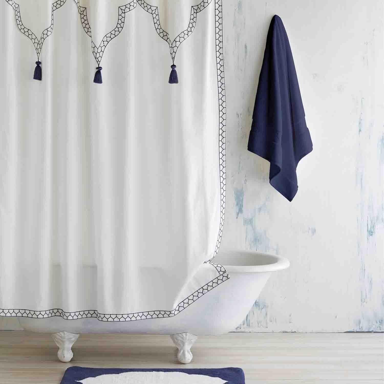White Indigo Iswar Shower Curtain