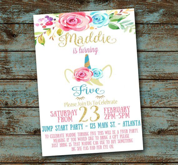 unicorn fiver party invitations