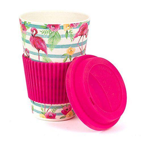 Bamboo Flamingo Reusable Coffee Cup Travel Mug (as seen on Love Island)