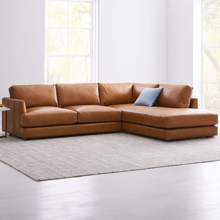 haven leather 2 piece chaise sectional