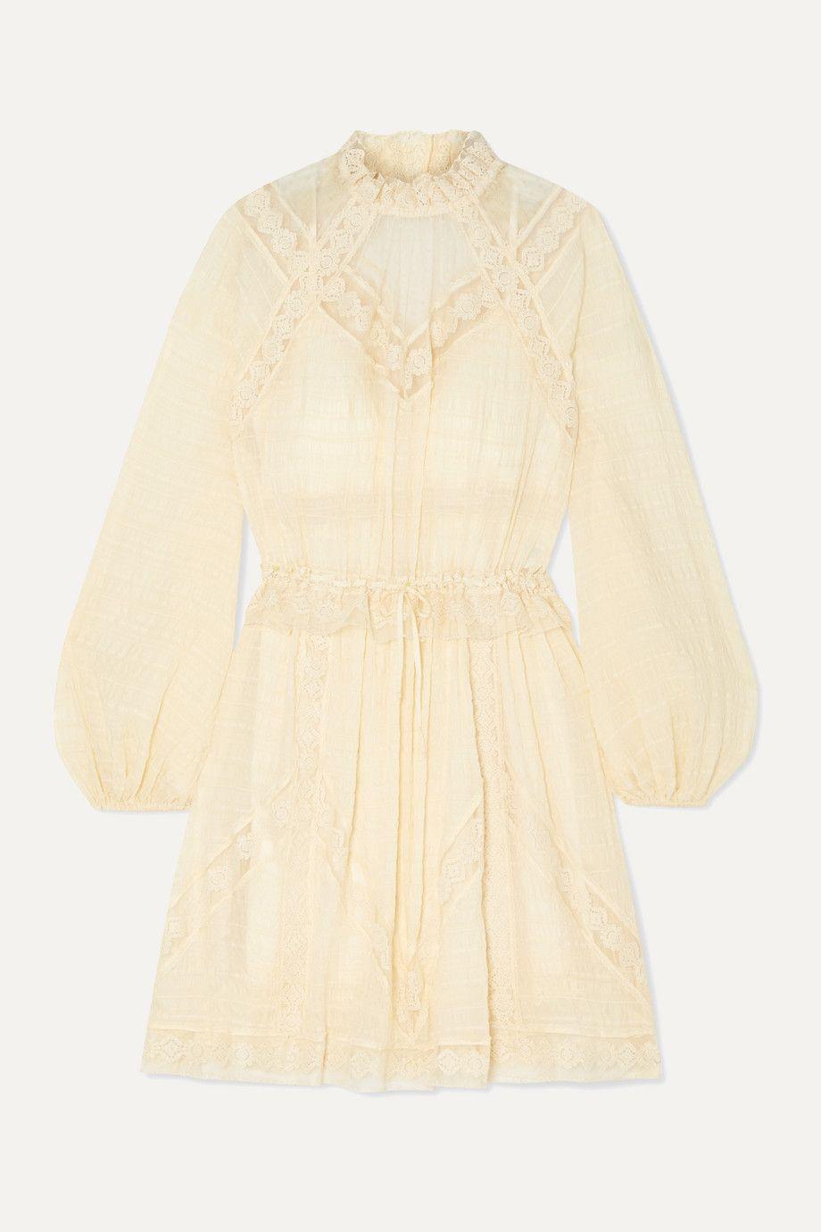 Zimmermann Lace-Trimmed Seersucker Dress
