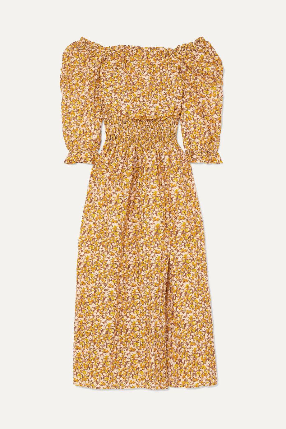 Rixo Off-the-Shoulder Floral Print Dress