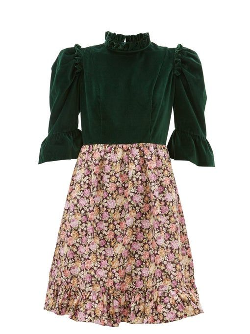 Floral Cotton and Velvet Dress