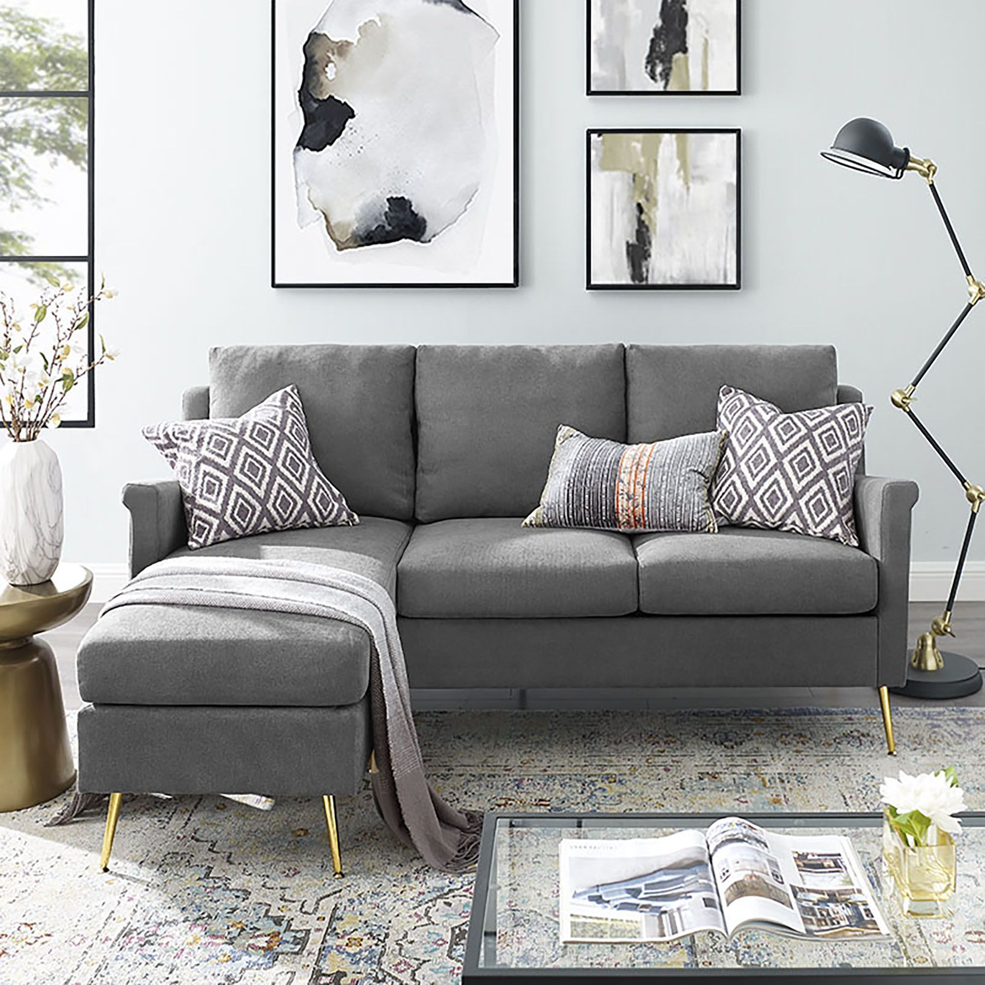 apartment sectional with gold legs