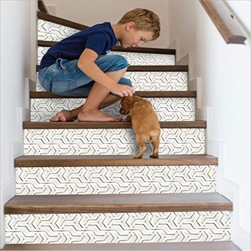 15 Of The Best Staircase Stickers And Tile Decals On Amazon | Wood Stairs With Tile Risers | Grey | Diy | Design | Mosaic | Stone