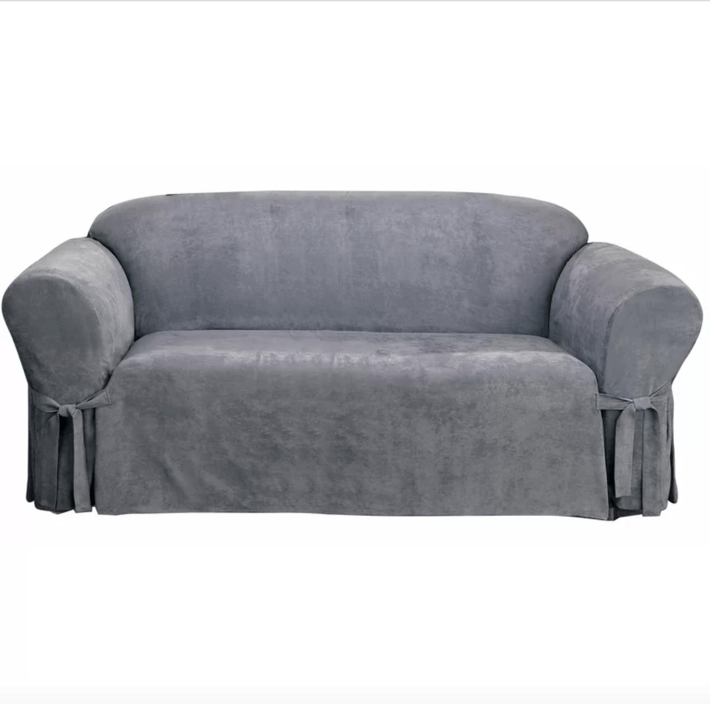soft suede furniture box cushion sofa slipcover