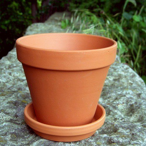 Terracotta Plant Pots With Saucers, pack of 10