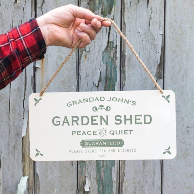 Personalised Hanging Metal Garden Shed Sign