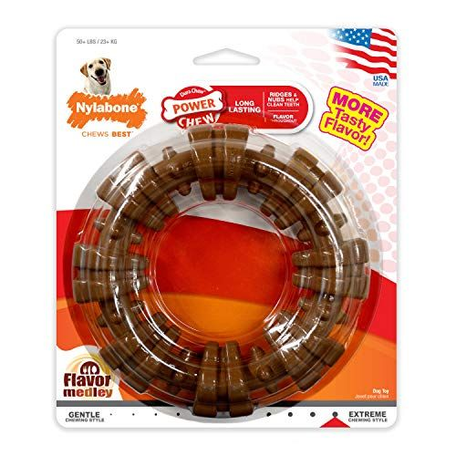Nylabone Power Chew Textured Dog Chew Ring Toy Flavor Medley Flavor X-Large/Souper - 50+ lbs.
