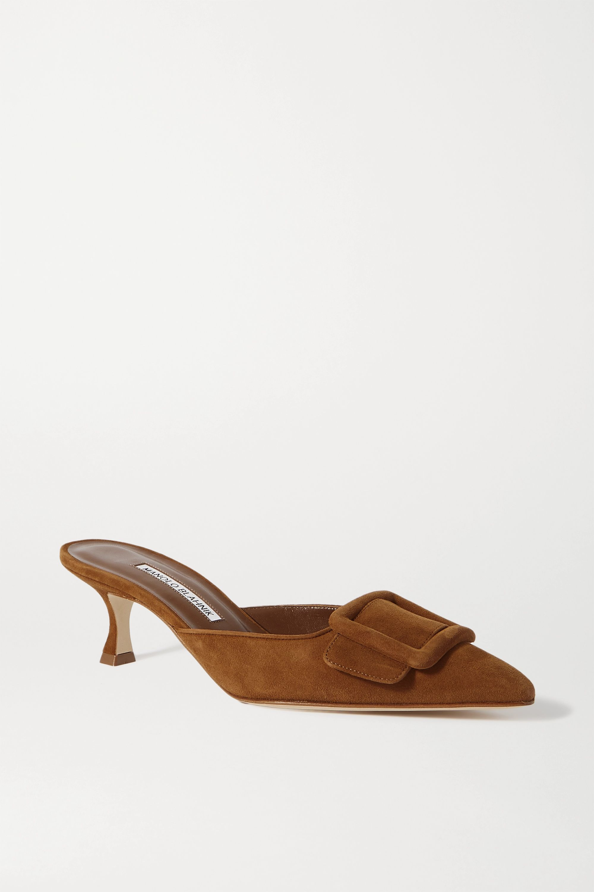 Maysale Buckled Suede Mules