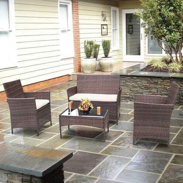 donn 4 piece rattan sofa seating group with cushions