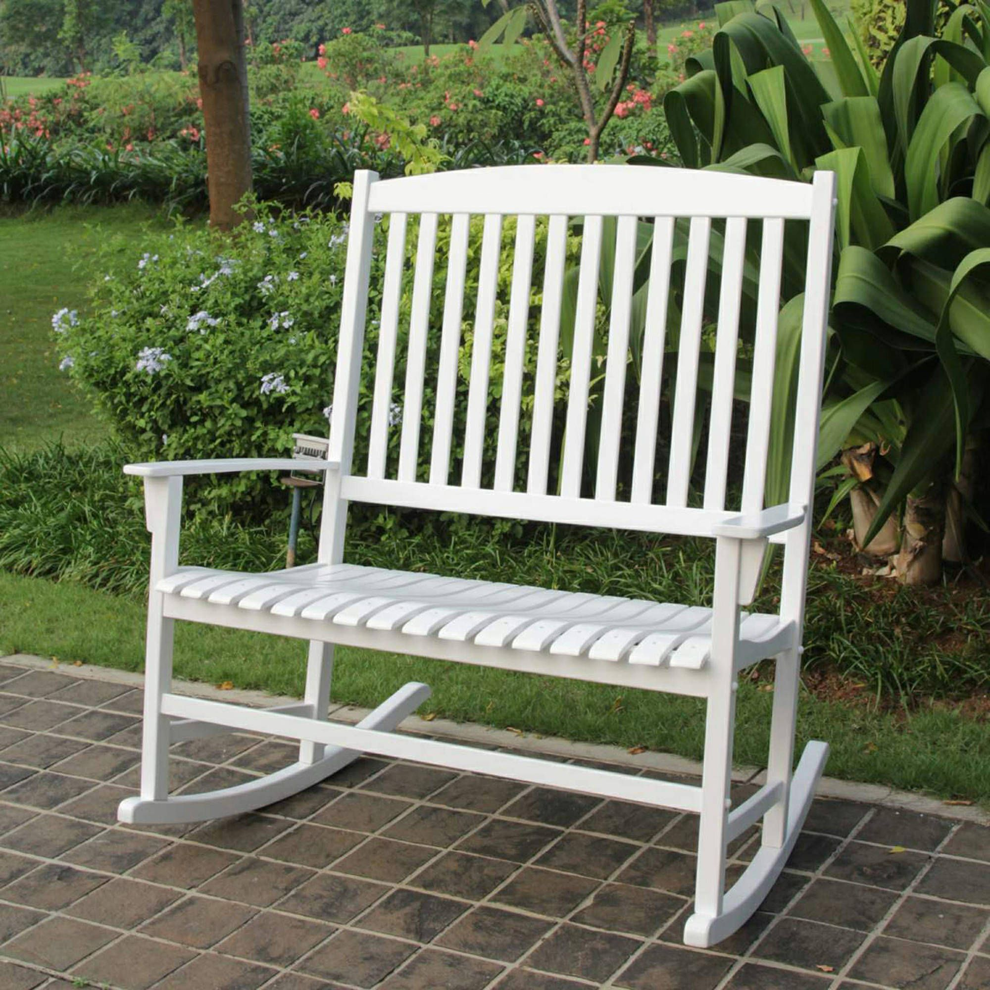 mainstays outdoor 2 person double rocking chair