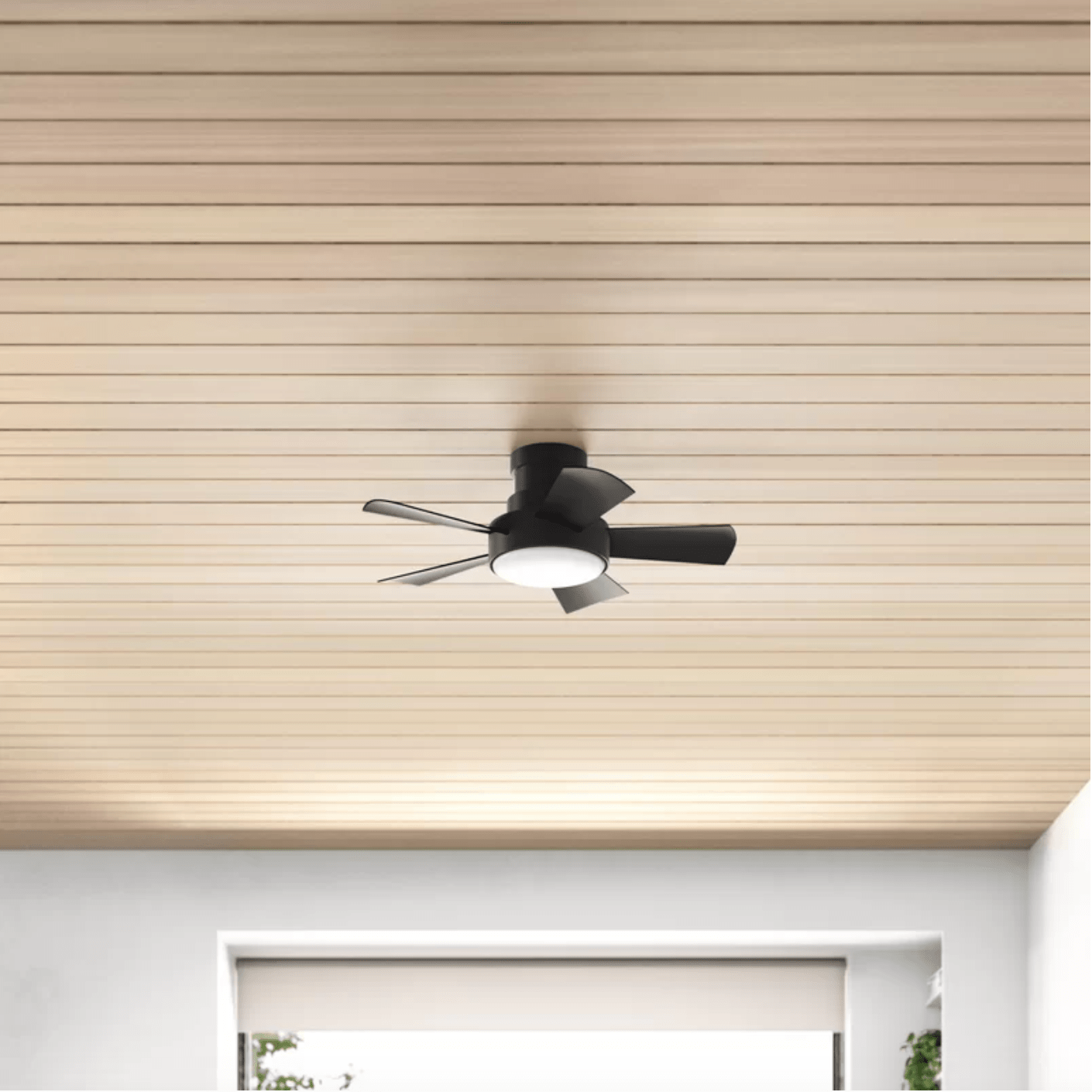 vox 5 blade outdoor led smart flush mount ceiling fan with wall control and light kit included