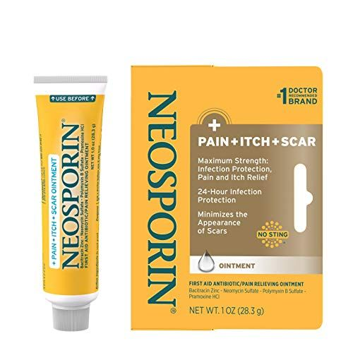 Neosporin Antibiotic Pain Relief, Anti-Itch & Scar Appearance Minimizer First Aid Pommment with Neomycin, Bacitracin, Pramoxin HCl & Polymyxin B, Minor Cuts, Scratches & Burns, 1 oz