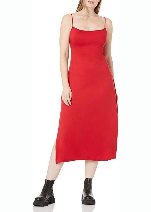 Kleid mit Spaghettiträgern und U-Rücken