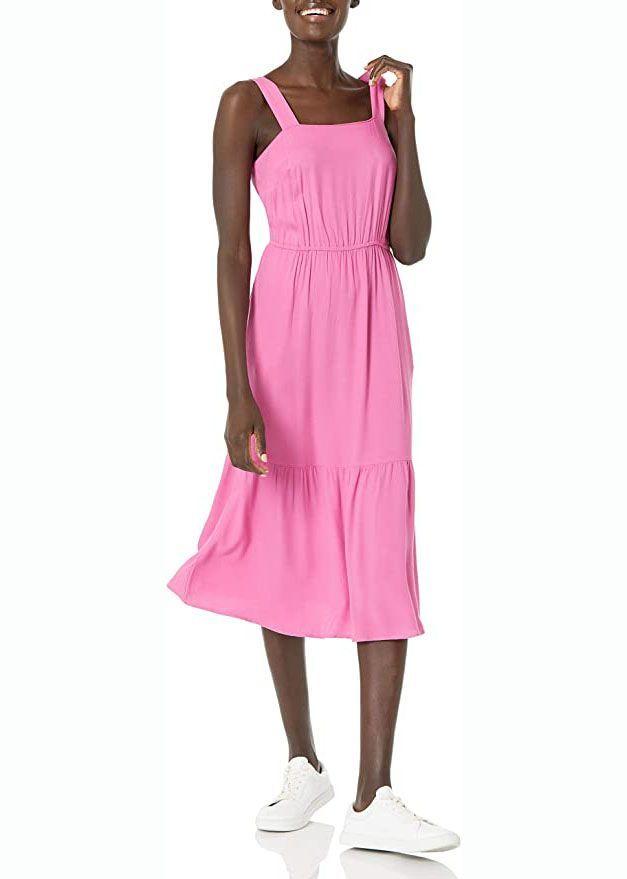 Gestuftes Midi-Sommerkleid aus fließendem Twill
