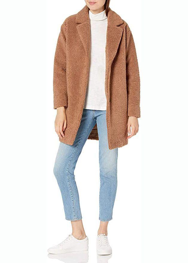 Übergroßer Mantel aus Fleece mit Teddybär